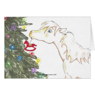 The mini and the Christmas tree Card