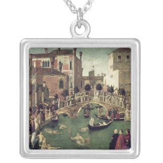The Miracle of the Cross on San Lorenzo Bridge Silver Plated Necklace