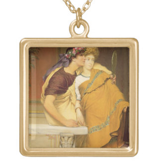 The Mirror, 1868 (oil on panel) Square Pendant Necklace