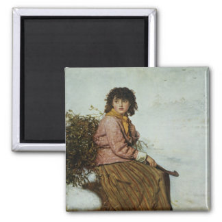 The Mistletoe Gatherer, 1894 Square Magnet