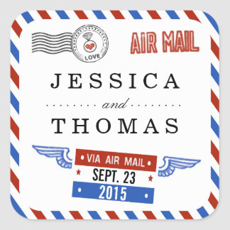 The Modern Airmail Wedding Collection Square Sticker