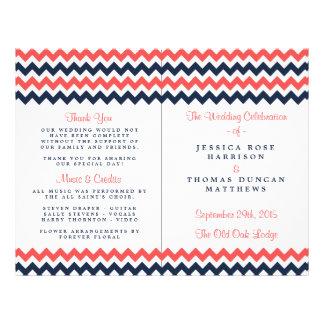 The Modern Chevron Wedding Collection Navy & Coral 21.5 Cm X 28 Cm Flyer