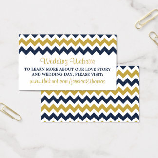 The Modern Chevron Wedding Collection- Navy & Gold Business Card