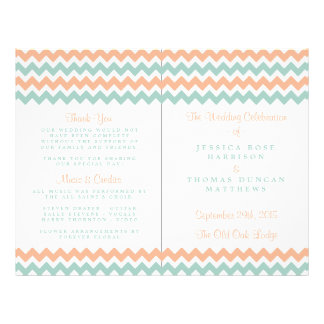 The Modern Chevron Wedding Collection Peach & Mint 21.5 Cm X 28 Cm Flyer
