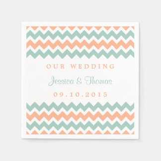 The Modern Chevron Wedding Collection Peach & Mint Disposable Napkins