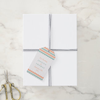 The Modern Chevron Wedding Collection Peach & Mint Gift Tags