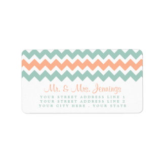 The Modern Chevron Wedding Collection Peach & Mint Label