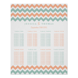 The Modern Chevron Wedding Collection Peach & Mint Poster