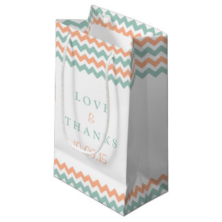 The Modern Chevron Wedding Collection Peach & Mint Small Gift Bag