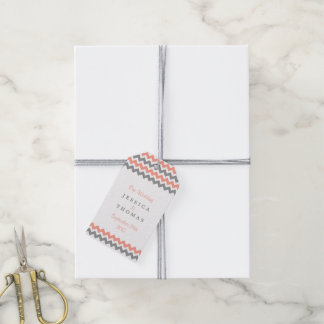 The Modern Chevron Wedding Collection- Pink & Grey Gift Tags