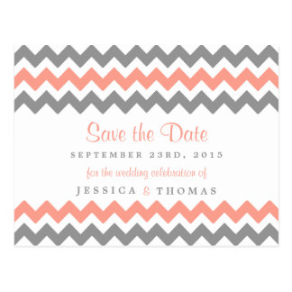 The Modern Chevron Wedding Collection- Pink & Grey Postcard