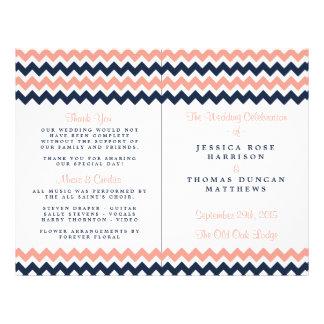 The Modern Chevron Wedding Collection- Pink & Navy 21.5 Cm X 28 Cm Flyer