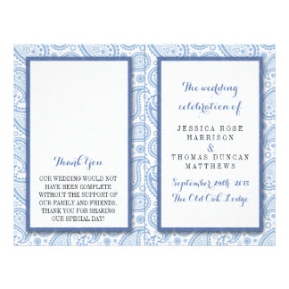 The Modern Paisley Wedding Collection - Blue 21.5 Cm X 28 Cm Flyer