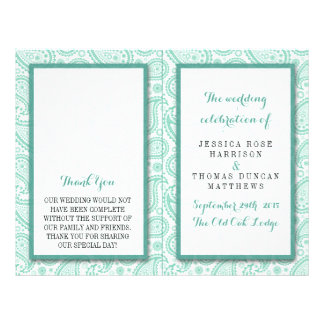 The Modern Paisley Wedding Collection - Green 21.5 Cm X 28 Cm Flyer