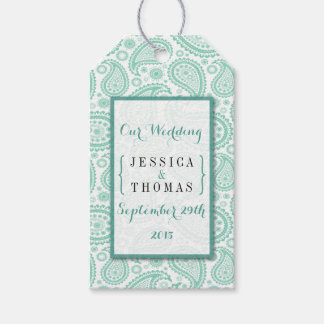 The Modern Paisley Wedding Collection - Green Gift Tags