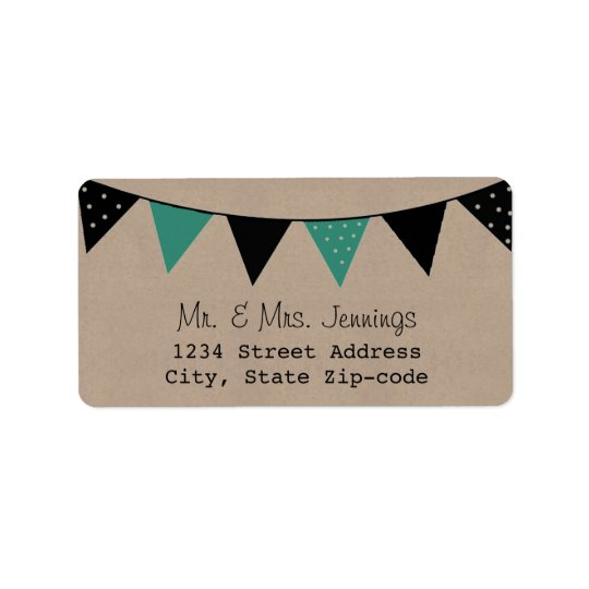 The Modern Turquoise Bunting Wedding Collection Address Label