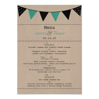 The Modern Turquoise Bunting Wedding Collection Card