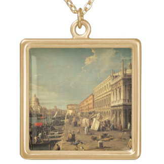 The Molo and the Zecca, Venice (oil on canvas) Gold Plated Necklace