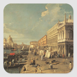 The Molo and the Zecca, Venice (oil on canvas) Square Sticker