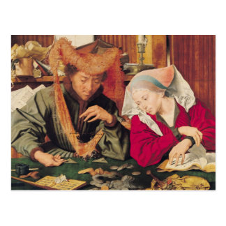 The Money Changer and his Wife, 1539 Postcard