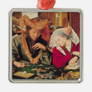 The Money Changer and his Wife, 1539 Silver-Colored Square Decoration