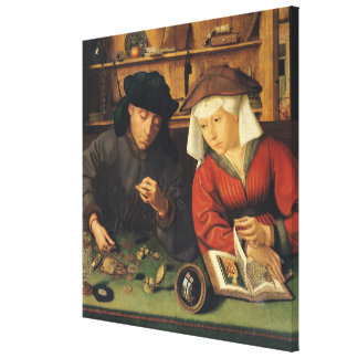 The Money Lender and his Wife, 1514 Canvas Print