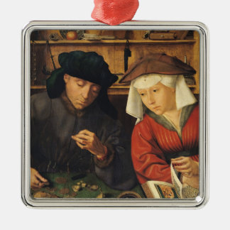 The Money Lender and his Wife, 1514 Silver-Colored Square Decoration