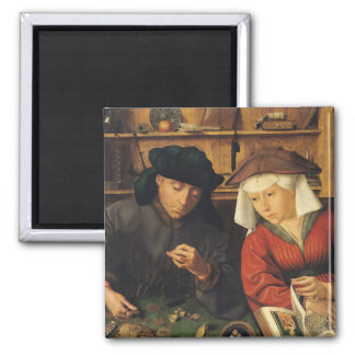 The Money Lender and his Wife, 1514 Square Magnet