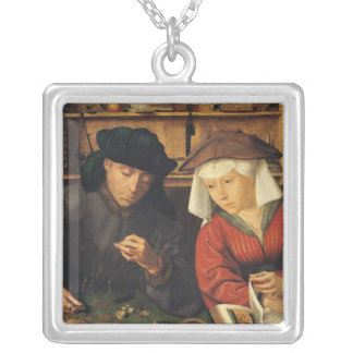 The Money Lender and his Wife, 1514 Square Pendant Necklace