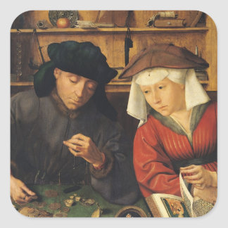 The Money Lender and his Wife, 1514 Square Sticker