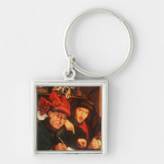 The Money Lenders, after Massys Silver-Colored Square Key Ring