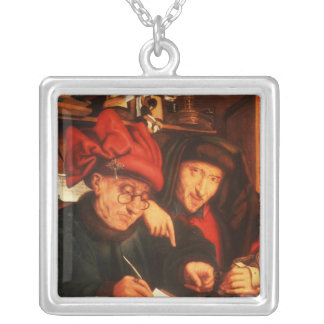 The Money Lenders, after Massys Square Pendant Necklace