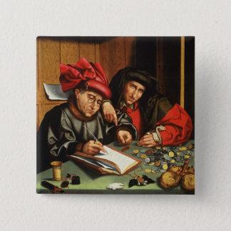 The Money Lenders (oil on oak panel) 15 Cm Square Badge