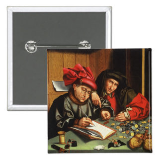The Money Lenders (oil on oak panel) 15 Cm Square Badge