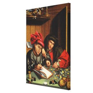 The Money Lenders (oil on oak panel) Canvas Print
