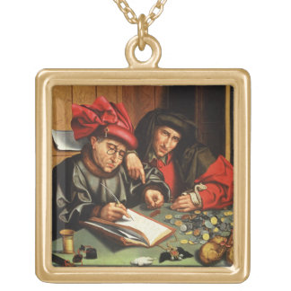 The Money Lenders (oil on oak panel) Gold Plated Necklace