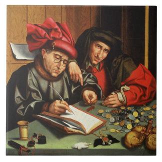 The Money Lenders (oil on oak panel) Large Square Tile