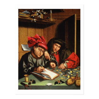 The Money Lenders (oil on oak panel) Postcard