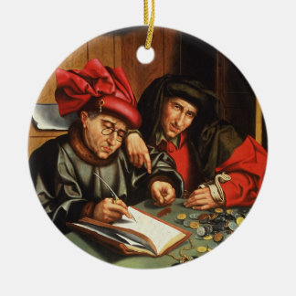 The Money Lenders (oil on oak panel) Round Ceramic Decoration