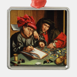 The Money Lenders (oil on oak panel) Silver-Colored Square Decoration