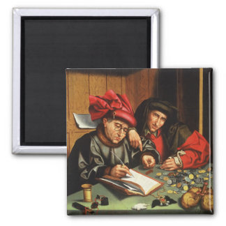 The Money Lenders (oil on oak panel) Square Magnet