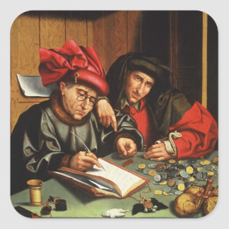 The Money Lenders (oil on oak panel) Square Sticker