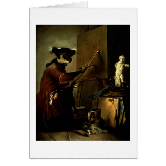 The Monkey Painter, 1740 (oil on canvas) Greeting Card