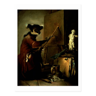 The Monkey Painter, 1740 (oil on canvas) Postcard
