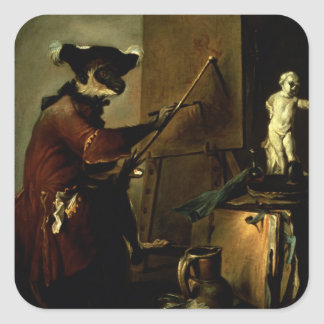 The Monkey Painter, 1740 (oil on canvas) Square Sticker