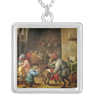 The Monkeys at School Silver Plated Necklace