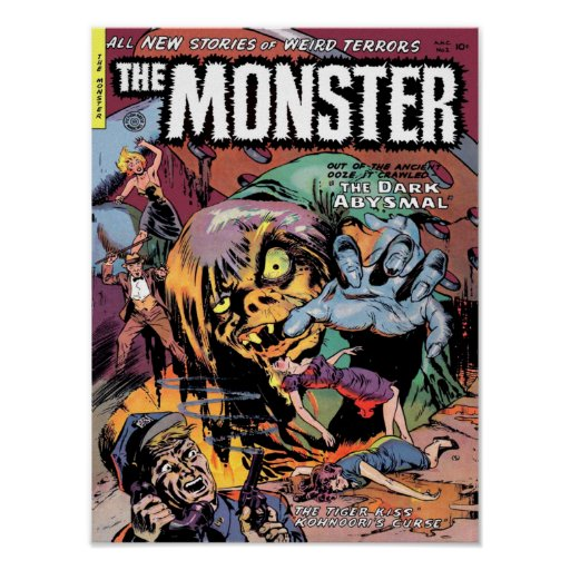 Vintage Comic Book Cover Posters : The monster cool vintage comic book cover art poster zazzle