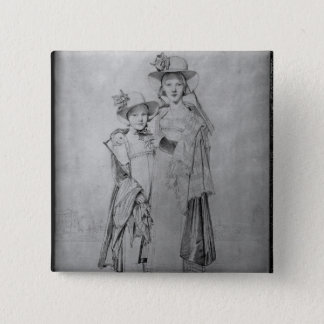 The Montagu Sisters in Rome, 1815 15 Cm Square Badge