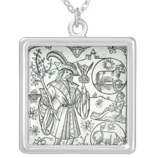 The month of April with astrological sun signs Silver Plated Necklace