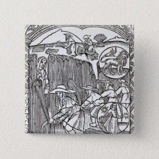 The Month of August, from a shepherd's calendar 15 Cm Square Badge